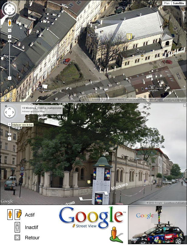 Mode StreetView de visite d'un site sur Shabbat Goy - Exemple: synagogue Tempel à Cracovie